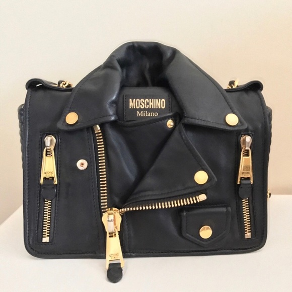 161508f5a96a4 Moschino Bags | Black Leather Biker Moto Jacket Purse | Poshmark